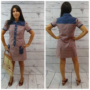 70s retro plaid and denim button down with pockets